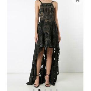 Marchesa Notte high-low rose lace dress